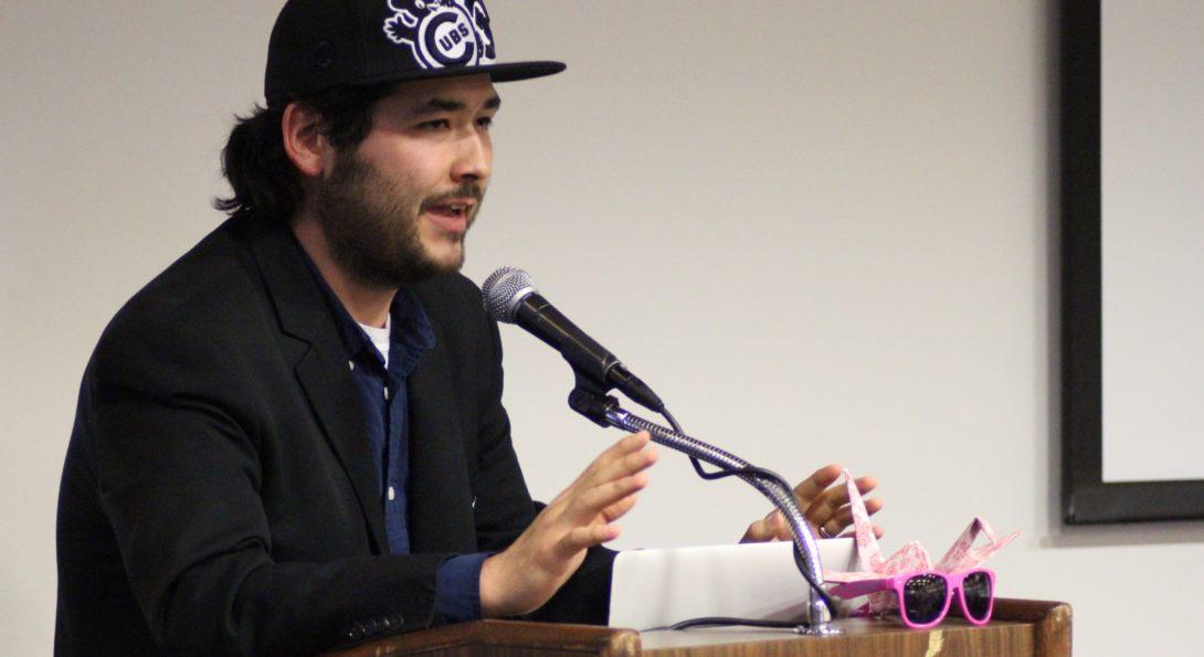 Brandon Lee delivering a speech