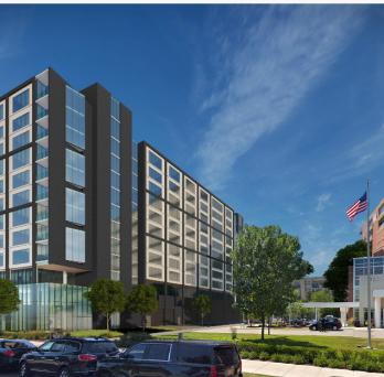 The Wilson Avenue-facing facade of the Weiss Hospital parking lot development.