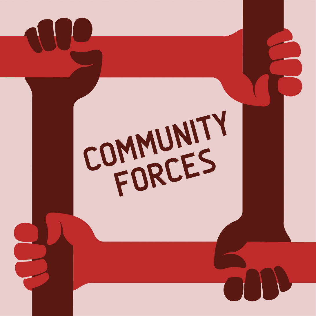 Four arms frame the text community forces