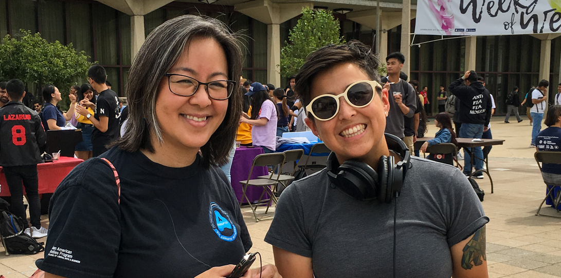 Community Forces co-creator Corinne Kodama and producer Sarah Eli Lu with their recording equipment after interviewing students