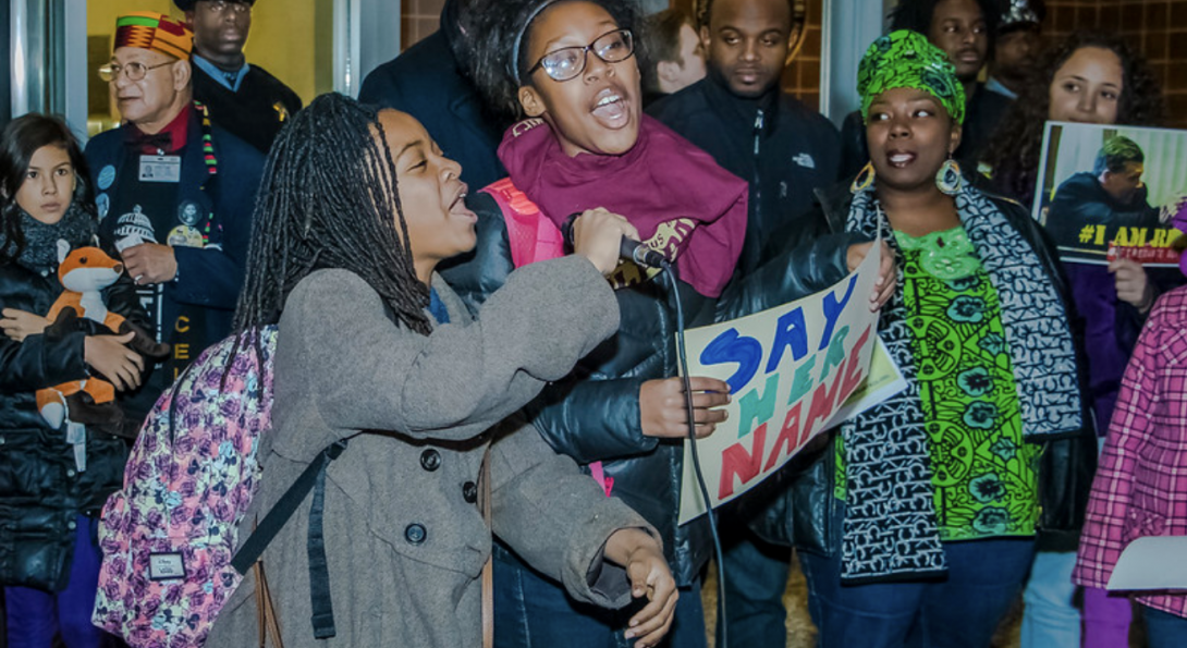 Protesters at the Police Board meeting in November 2019